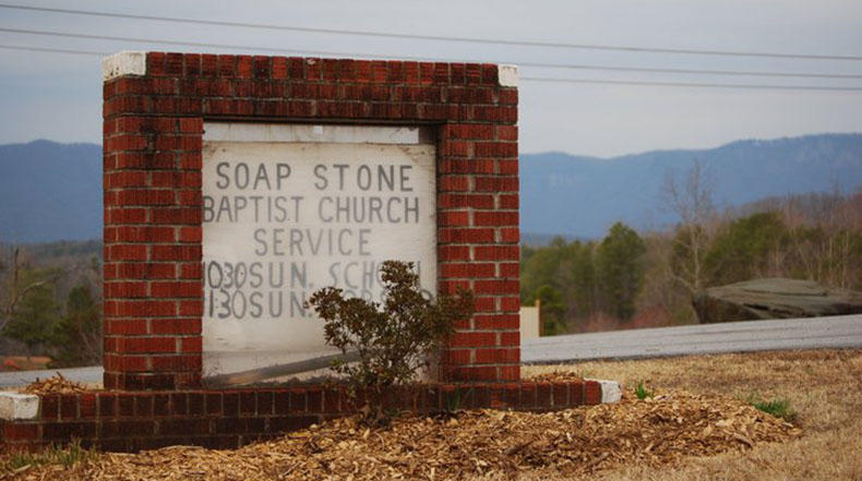 Soapstone Baptist Church sign, Liberia, S.C.