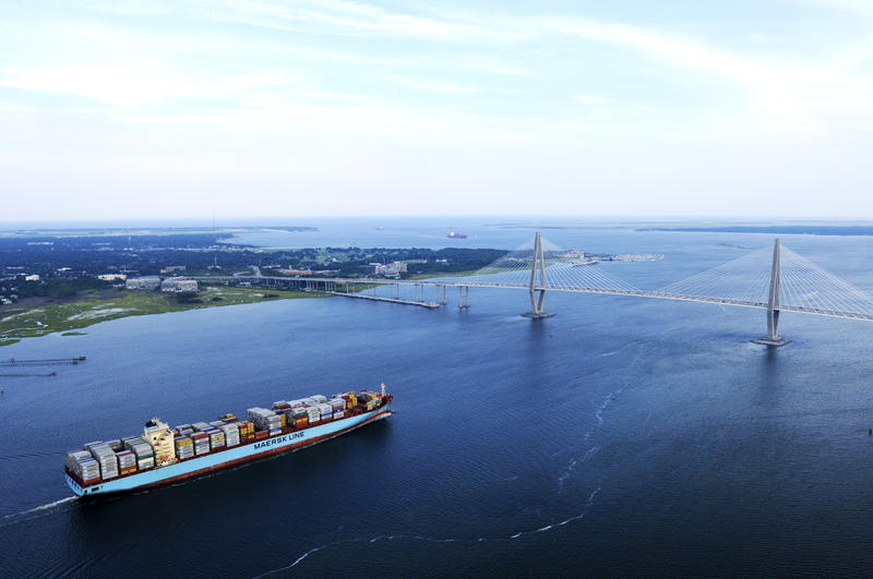 A Maersk Line container ship approaching the ravenel bridge in Charleston.