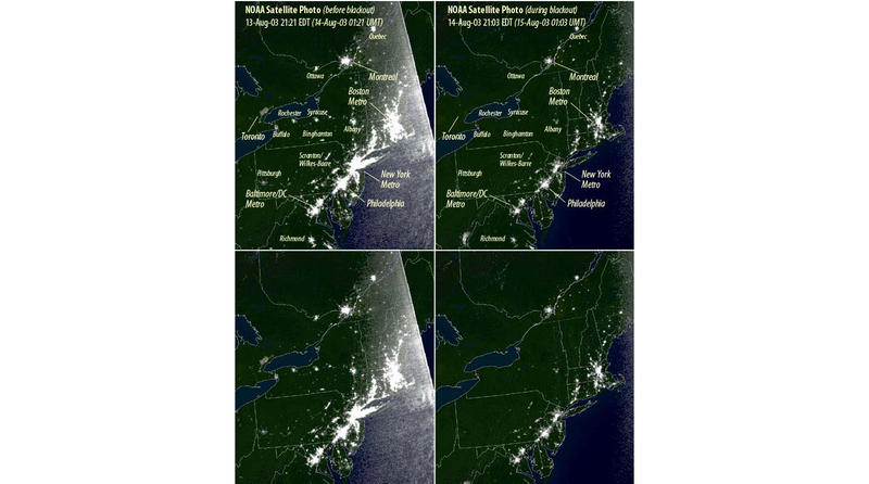 NOAA photos of the US East Coast lights the night before and the night of the August 14, 2003 blackout which left nearly 50 million people without power.