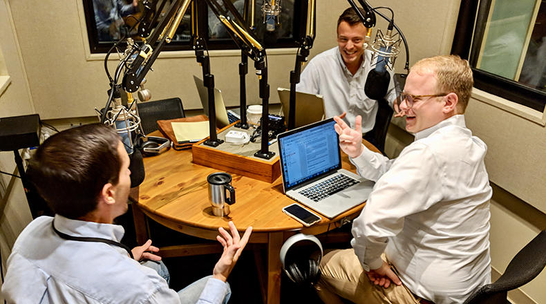 Gavin Jackson speaks with Post and Courier Reporters Andy Brown (l) and Jamie Lovegrove (r) in the South Carolina Public Radio studios on Monday, September 10, 2018.