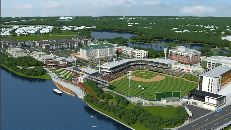 This stadium is the centerpiece of a re-vitalized North Augusta riverfront.