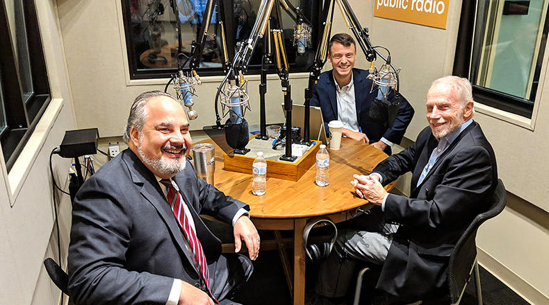 Gavin Jackson with Andy Shain (l) and Charles Bierbauer (r) in the South Carolina Public Radio studios on Monday, October 29.