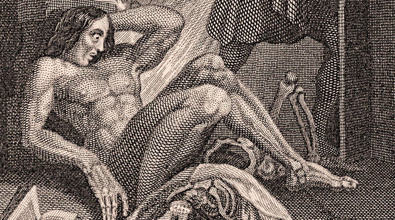 A detail from the frontispiece of the 1831 edition. Steel engraving (993 x 71mm) to the revised edition of Frankenstein by Mary Shelley, published by Colburn and Bentley, London 1831.