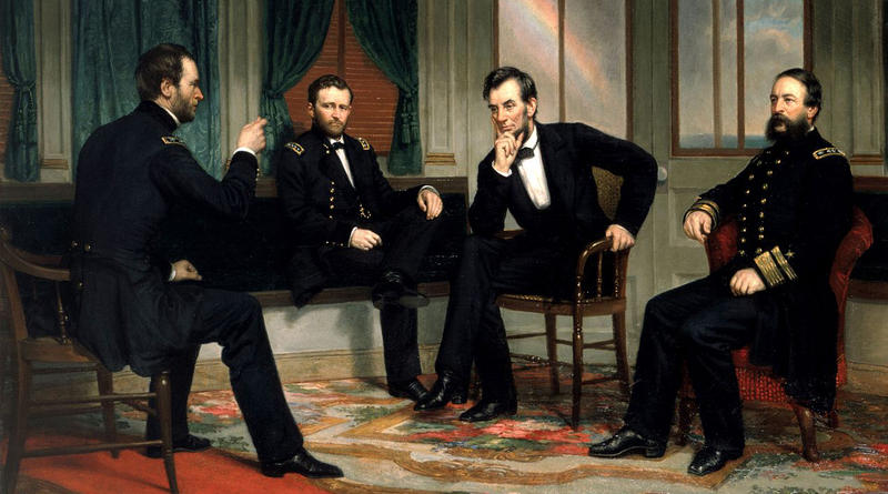 Detail of the White House copy of the lost 1868 painting. Sherman, Grant, Lincoln, and Porter aboard the River Queen on March 27th & March 28th, 1865.