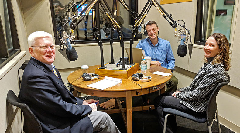 Gavin Jackson speaks with Russ McKinney (l) and Seanna Adcox (r) in the South Carolina Public Radio studios on Tuesday, November 13, 2018.