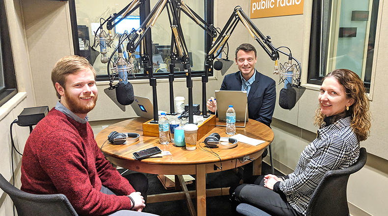 Gavin Jackson speaks with Thad Moore (l) and Seanna Adcox (r) in the South Carolina Public Radio studios on Monday, November 26, 2018.