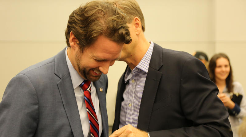 Joe Cunningham chats with supporters and friends after midterm election win