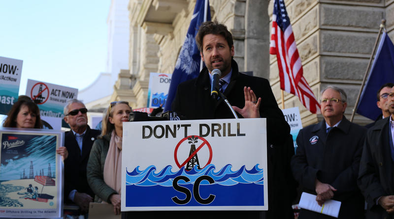 Congressman-elect Joe Cunningham talks about plans to stop seismic blas testing off our cast at the federal courthouse in Charleston