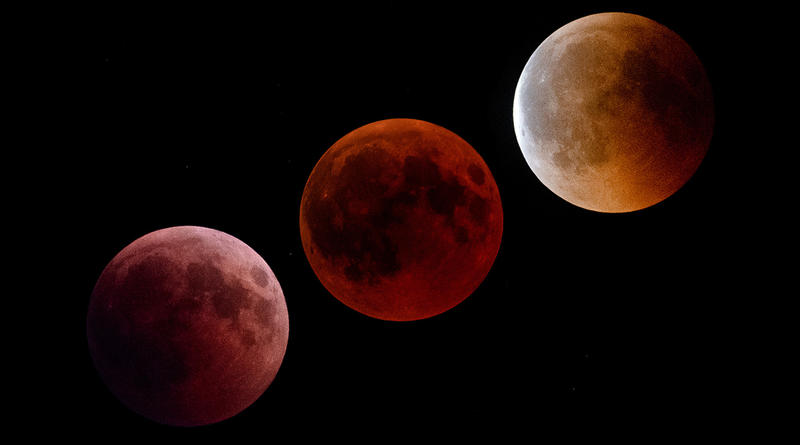 Stages of a total lunar eclipse,  July 27, 2018. The first image was taken not long after moonrise, image at the center at about the maximum, last image on the right at the end of the eclipse.