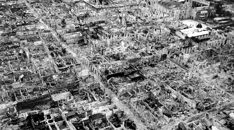Destruction at the Walled City (Intramuros district) of old Manila in May 1945, after the Battle of Manila.