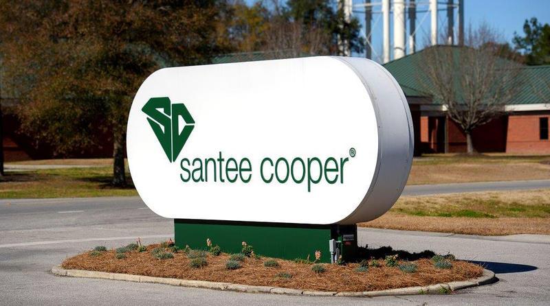 File photo of Santee Cooper headquarters sign.
