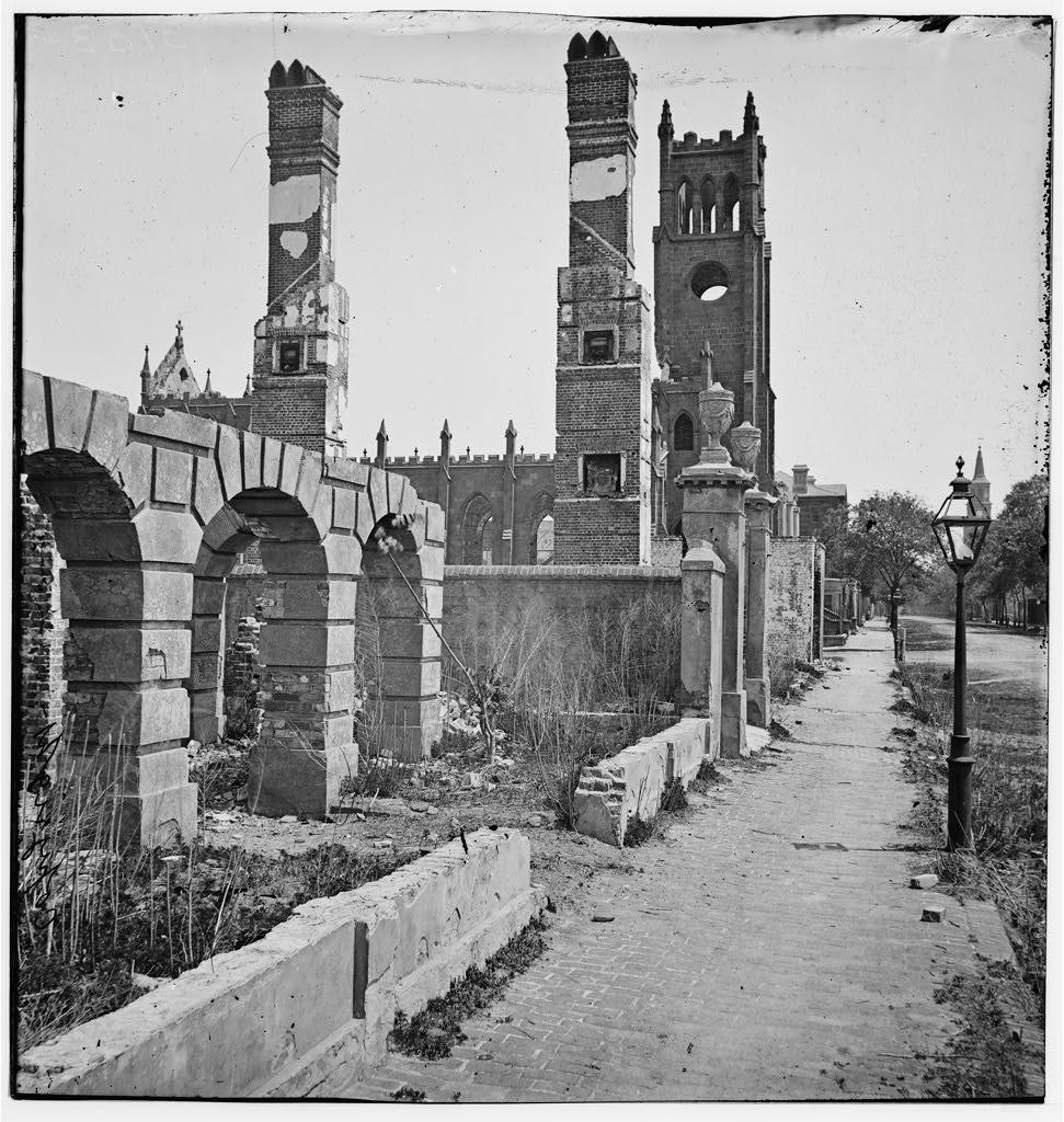 south carolina in the civil war and reconstruction eras essays charleston south carolina 1865 broad street looking east the ruins of cathedral of st john and st finbar