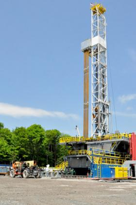 A gas drilling rig in Susquehanna County, Pennsylvania