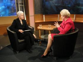 Karen interviewing SUNY Chancellor Nancy Zimpher