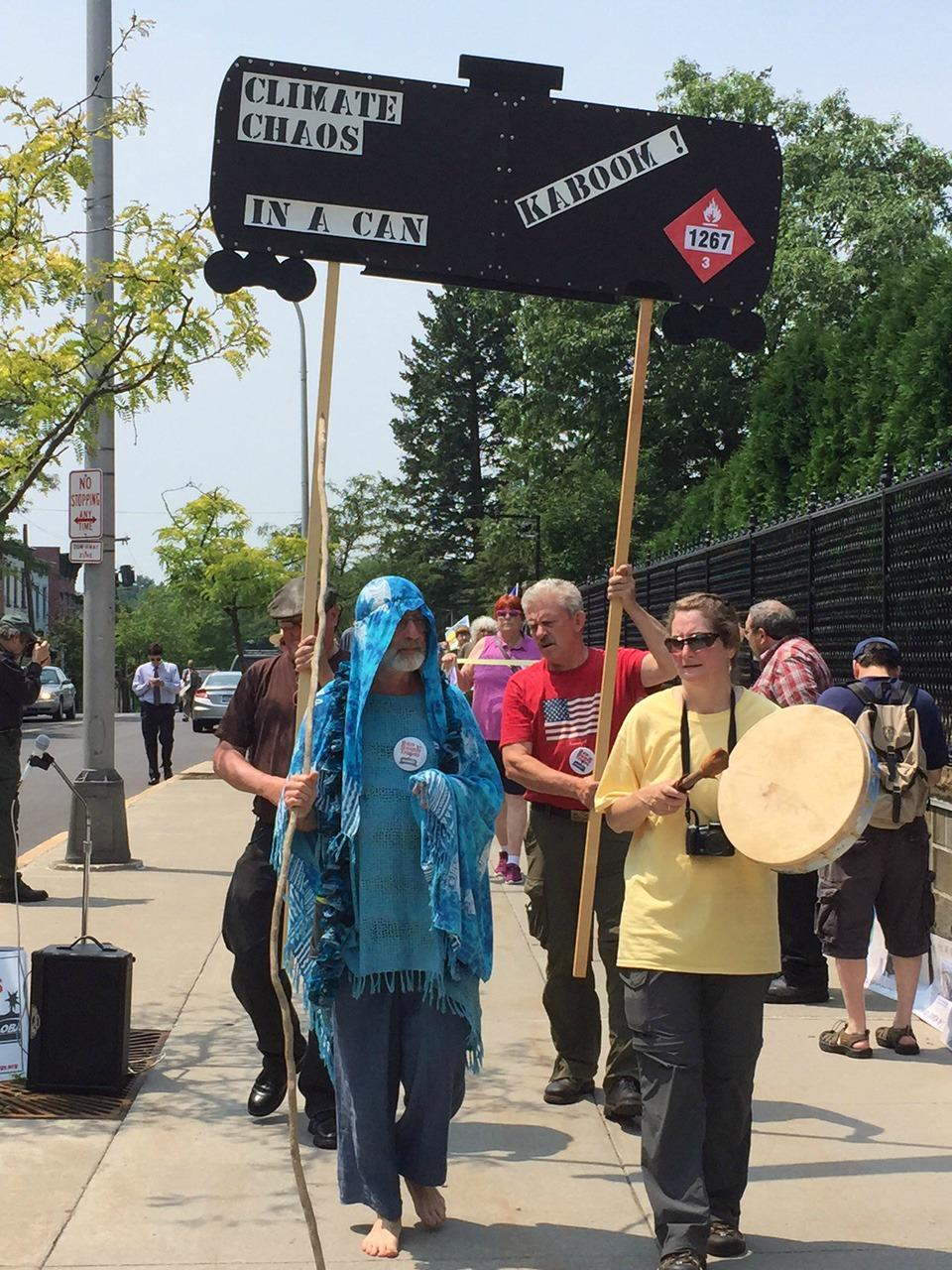 Protestors of Bakken Oil Trains rally for Lac-Megantic anniversary CREDIT JENNA FLANAGAN / NEW YORK NOW