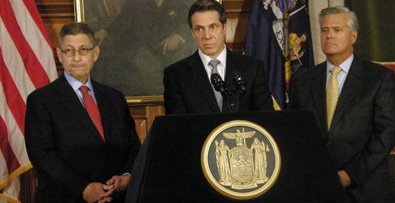 From left to right: State Assembly Speaker Sheldon Silver (D), New York Gov. Andrew Cuomo (D) and State Senate Majority Leader Dean Skelos.