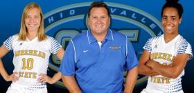 (L to R) Junior forward Jade Flory, Head Coach Warren Lipka and freshman forward Angela Black