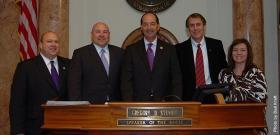 (L to R) Brian Hutchinson, Rob Tenyer, Rep. Rocky Adkins, Chuck Mraz & Joni Mraz