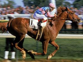 Ferdinand winning the 1986 Kentucky Derby with jockey Willie Shoemaker
