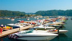 Boats docked on Lake Cumberland (KY)