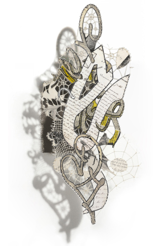 """WORD-e, 2012 (""""Floating"""" mixed media collage, 20.5 x 9"""")"""