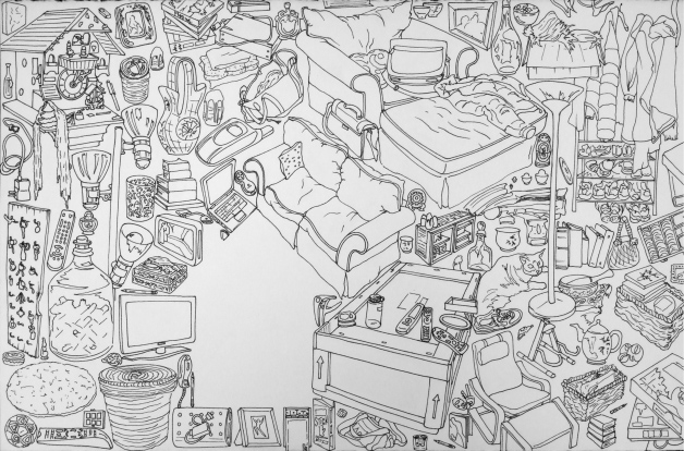 """Everything I Own: Living Room, 2010 (Ink on Stonehenge paper, 20 x 26"""")"""