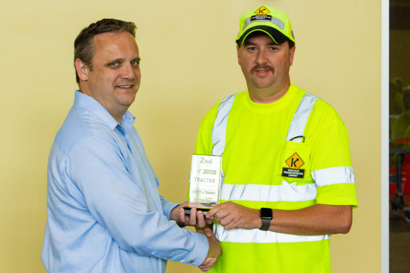 Nick Clark, superintendent at Department of Highways District 9's Nicholas County facility, took second place in the tractor mower competition at the state safety and training 'roadeo.'