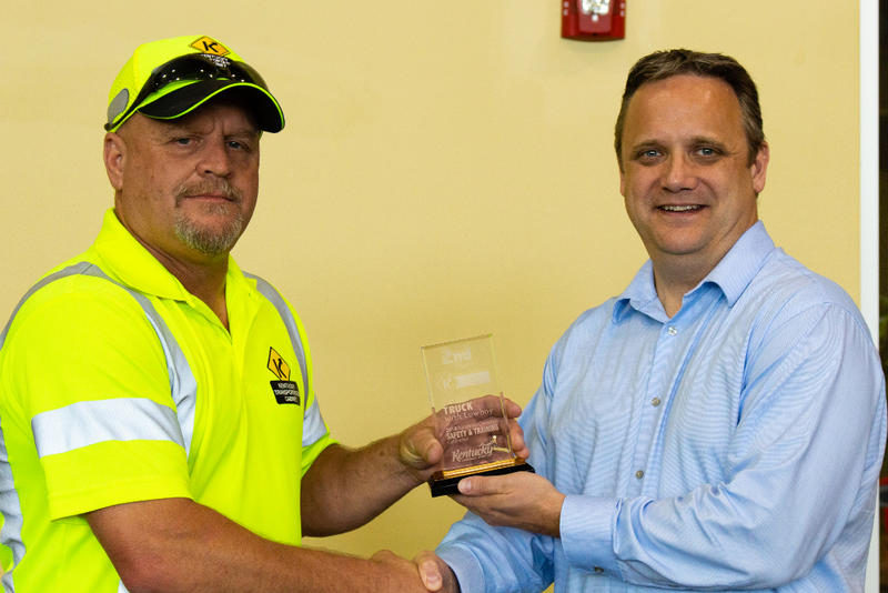 Duane Dehart, superintendent at Department of Highways District 9's Rowan County facility, took second place in the lowboy driving competition at the state safety and training 'roadeo.'