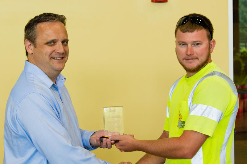 Jeremiah Moyers, of Department of Highways District 9's Fleming County facility, took third place in the backhoe competition at the state safety and training 'roadeo.'
