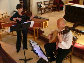 Rebecca Cole and Francis Perry rehearse for the upcoming Music City Baroque Concert