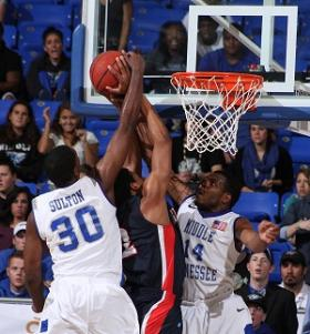 Blue Raider standouts JT Sulton (#30) and Marcos Knight (#14) in action during a winning 2011-12 basketball season.
