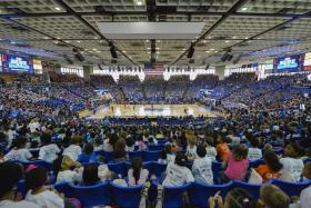 Nearly 7,500 Murfreesboro City Schools students enjoy a field trip to MTSU's Murphy Center for the Lady Raiders' Dec. 4 Education Day game against Austin Peay. Attendance was 10,107, the second largest crowd in the program's history. (Photo by Andy Heidt/MTSU Creative and Visual Services)
