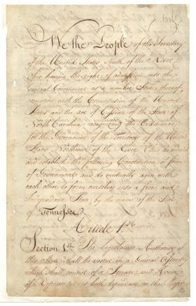 One of three early versions of the Tennessee Constitution that will be on display this weekend at the Supreme Court building in Nashville.