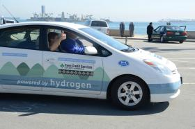 With Dr. Cliff Ricketts at the wheel of his modified Toyota sedan, the MTSU alternative fuels team arrives at the Pacific Ocean at Long Beach, California, Thursday, March 14, 2013.