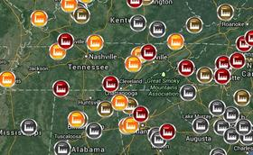 A map detailing coal ash storage sites across the southeast.