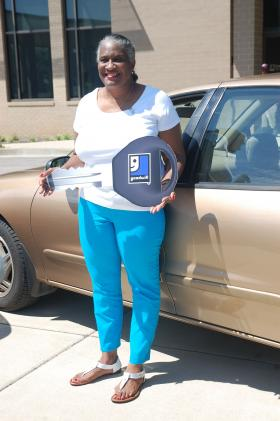 "Jonnie Ogletree received a 1998 Chevrolet Cavalier as part of Goodwill Industries ""Wheels-to-Work"" program in August, 2013."