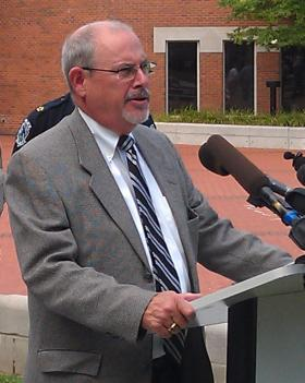 Tennessee 16th Judicial District Attorney General William Whitesell announces the formation of a cold-case task force for Rutherford and Cannon counties August 5, 2013 on Civic Plaza in Murfreesboro.