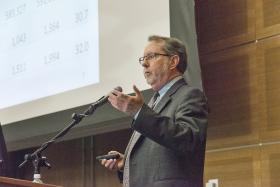 BERC Director David Penn speaks to area business leaders at Friday's conference in Murfreesboro.