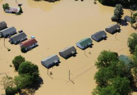 Flooded Tennessee homes as photographed in the spring of 2010 by a FEMA aerial survey team.