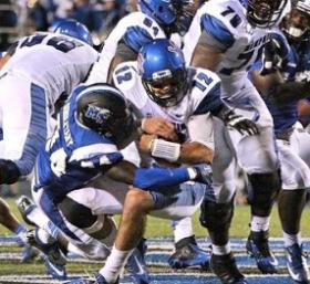 Jared Singletary picked up a pair of sacks in the final seconds to preserve a Blue Raider win over Memphis on Saturday, Sept 14, 2013