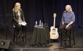 Recording Industry Chair Beverly Keel and Barry Gibb in MTSU's Tucker Theatre.