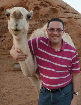 Dr. Sean Foley and Nora the camel