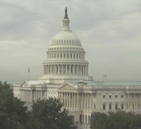 A webcam shot of the capital building in Washington D.C. captured early Tuesday morning.