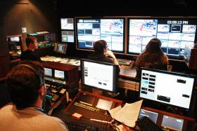 MTSU EMC Master Control room during CUSA Volleyball tournament
