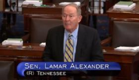 Tennessee Senator Lamar Alexander on the floor of the Senate.