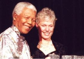 Nelson Mandela receiving an award at the National Civil Rights Museum located in Memphis.