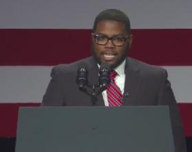 MTSU student Joshua Crutchfield introduces President Barak Obama Feb. 25, 2014, in Washington, D.C.