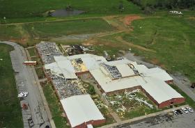 Tornado damaged elementary school in Lincoln County, TN