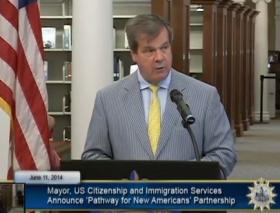 Nashville Mayor Karl Dean announces the launch of the Pathways for New Americans program June 11, 2014.
