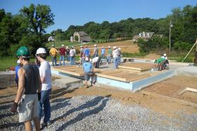In preparation for building the Harmony House entry for Solar Decathlon 2015, MTSU and Vanderbilt students helped construct a Habitat for Humanity home in Dickson, Tennessee, in late May and June. (Submitted photo)